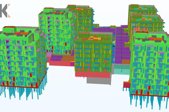 Daugiabučių gyvenamųjų namų su požeminiu parkingu kvartalas. Techninis ir darbo projektai